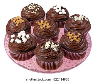 GLASS PLATE WITH EIGHT CHOCOLATE FROSTED CUPCAKES OR MUFFINS,ON WHITE