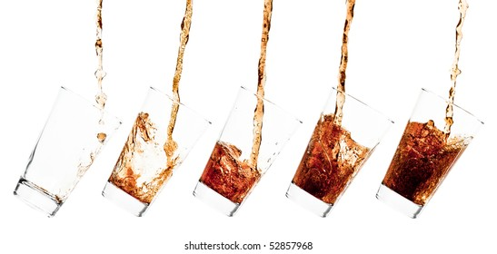 Glass pouring with a splashing cola - sequence set of 5 shots - isolated on white