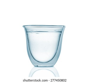Glass with pure carbonated water, isolated on white background, high depth of field, studio shot