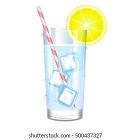 Glass of pure water with ice and lemon.