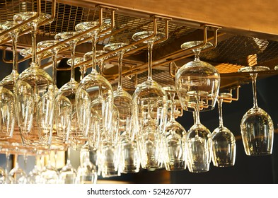 Glass Racks in bar.