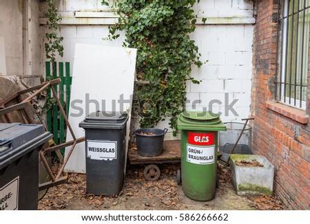 Backyard Bins glass recycling bins backyard germany stock photo (edit now