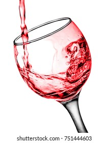 a glass of red water splash isolated on white background