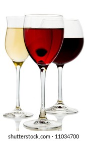 a glass red, white and rose