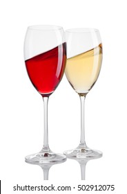 Glass of red and white wine in motion on white background