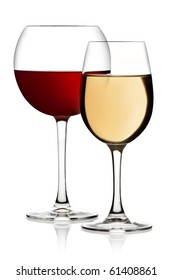 Glass of red and white wine on a white background and with soft shadow. The file includes a clipping path.