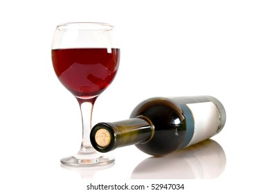 glass of red wine and wine bottle isolated over white