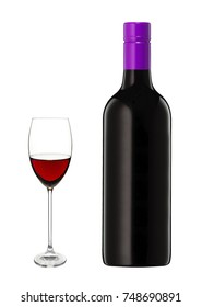 Glass of red wine and a bottle isolated on white background