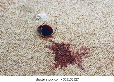 glass of red wine fell on carpet
