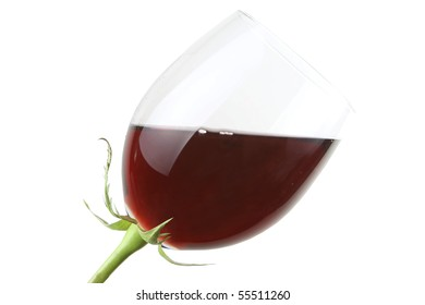 Glass with red wine as a flower isolated on white