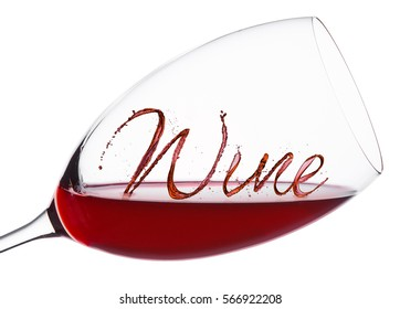 Glass of red wine with wine font splash and drops on white background