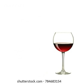 a glass of red wine isolated
