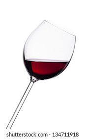Glass of red wine isolated on white background. Food concept.