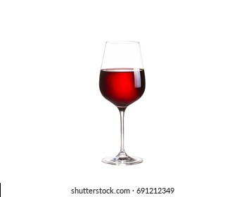 Glass of red wine, isolated on white background