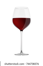 Glass of red wine isolated on white background