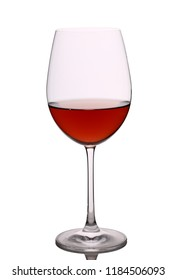 a glass of red wine on a white background
