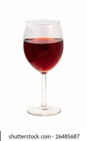 Glass of red wine on a white isolated background.
