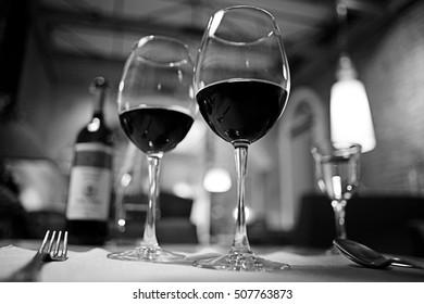 glass of red wine in restaurant interior