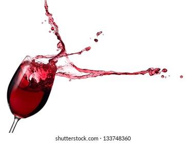 Glass with red wine splash