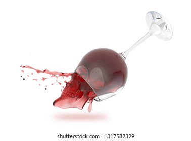 Glass of red wine splash out in a human scull form