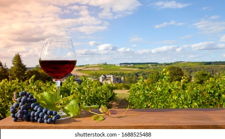 Glass of red wine and vine landscape in France.