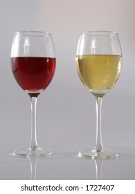 Glass of red wine and glass of white wine