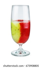 Glass of red-green strawberry-kiwi smoothie isolated on white background