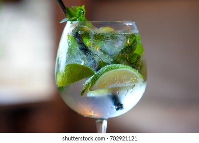 glass of refreshing drink at the bar closeup