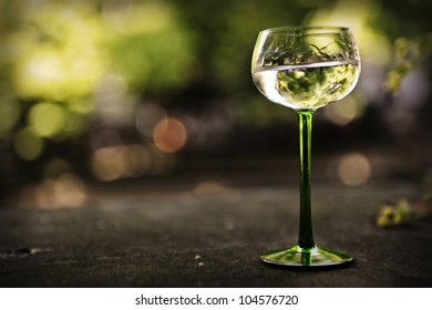 Glass of riesling alsatian white wine