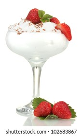 glass of ripe strawberries with cream isolated on white