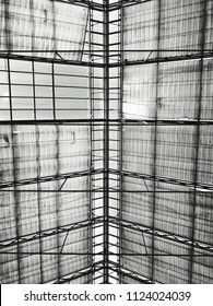 Glass roof in Atrium textured in black and white with light shining thru.