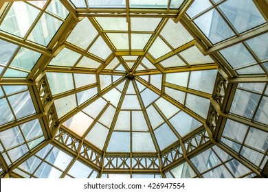 Glass Roof Mirror Gold Pattern Architecture