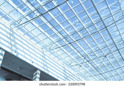 Glass roof of modern office building