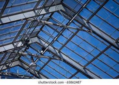 The glass roof structure of a conservatory.