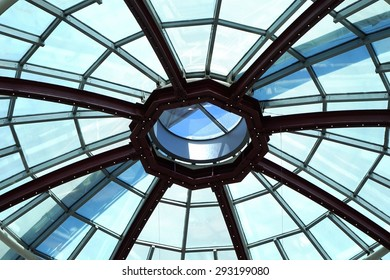 Glass roof top  / Dome of Diagonal shopping mall / Barcelona, Spain