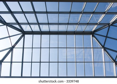 Glass roof of trade center.