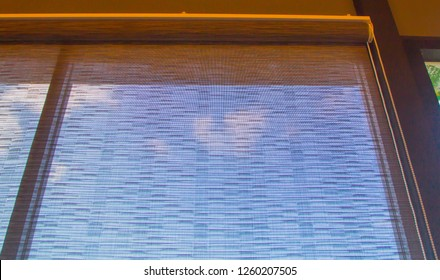 glass room and curtain, roll, roller,shade, blinds,window decoration concept.