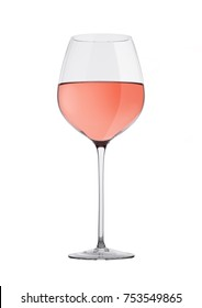 Glass of rose pink wine isolated on white background