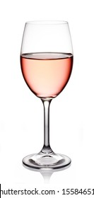 Glass of rose wine on white background