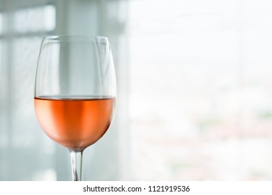Glass of rose wine (selective focus)