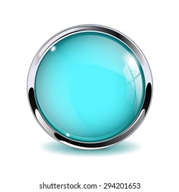 Glass round button, marine blue web icon with metallic frame.  Illustration isolated on white background. Raster version