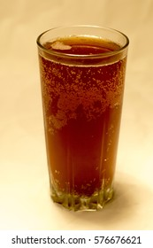 Glass glass with Russian drink kvass.
