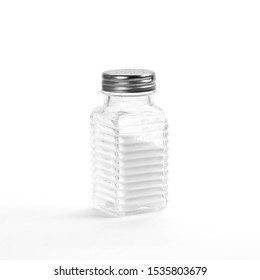 Glass salt shaker. Close up. Isolated on white background.