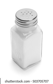 Glass Salt Shaker Isolated on White Background.