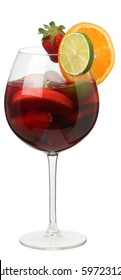 Glass of sangria with fruits and berries isolated on white backg