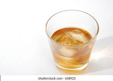 glass of scotch top view