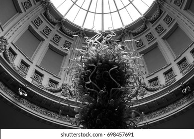 Glass sculpture by glass artist Dale Chihuly, hanging under central domed window at London' Victoria & Albert Museum, photographed in monochrome in August 2017