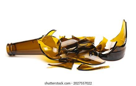 Glass shards, broken beer bottle isolated on white background
