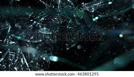 Glass shards fragmenting