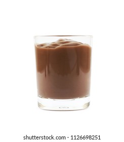 Glass shot of chocolate pudding isolated over the white background